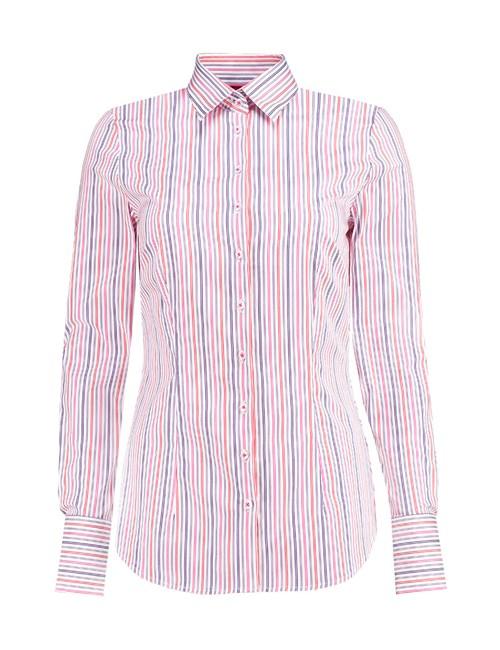 Bluse – Slim Fit – Baumwollstretch – Streifen rosa & blau