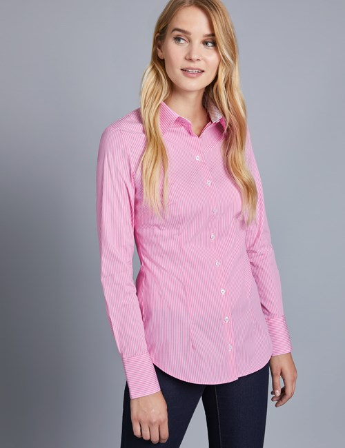 Women's Pink & White Stripe Fitted Shirt - Single Cuff