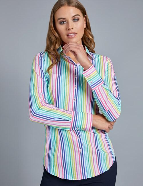 Women's Pink & Blue Multi Stripe Fitted Shirt - Single Cuff