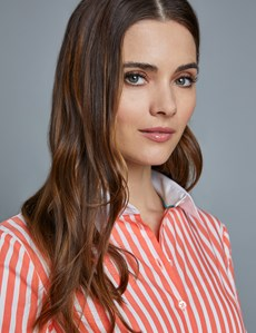 Women's Coral & White Bengal Stripe Fitted Shirt - Single Cuff