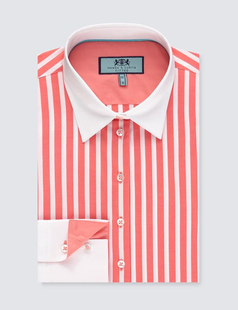 Bluse – Slim Fit – Baumwollstretch – Streifen in Koralle