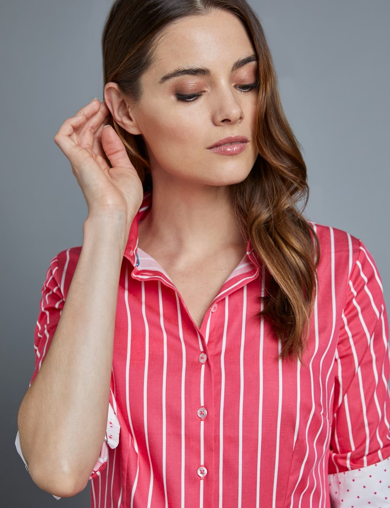Women's Red & White Bengal Stripe Fitted Shirt - Single Cuff
