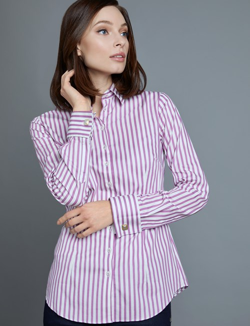 Women's Fuchsia & White Stripe Fitted Shirt - Double Cuff