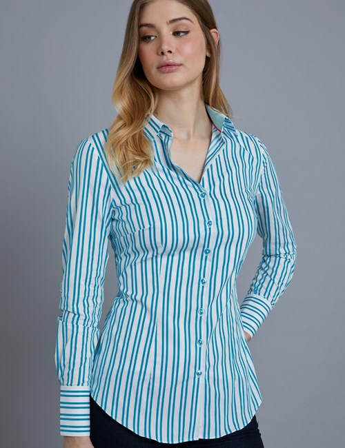 Women's Blue & White Bi Stripe Fitted Shirt - Single Cuff