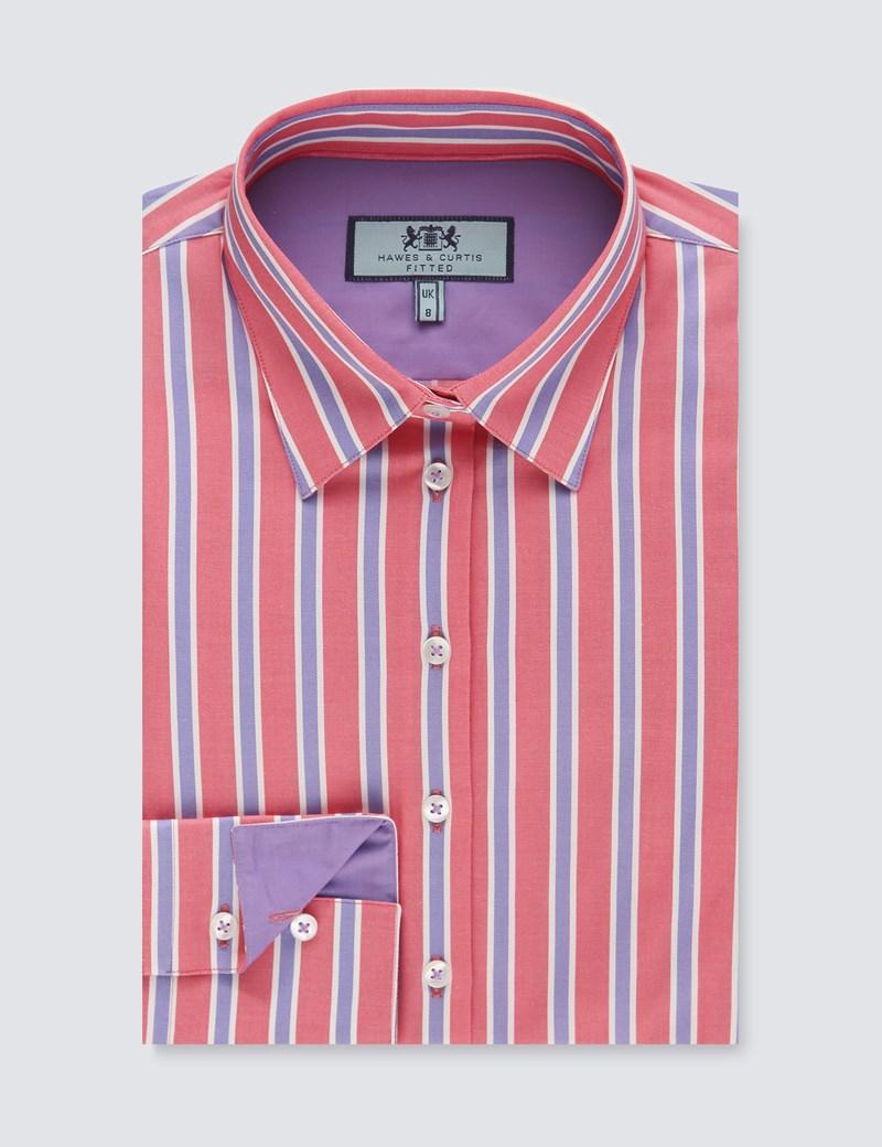Bluse – Slim Fit – Baumwollstretch – Pyjamastreifen