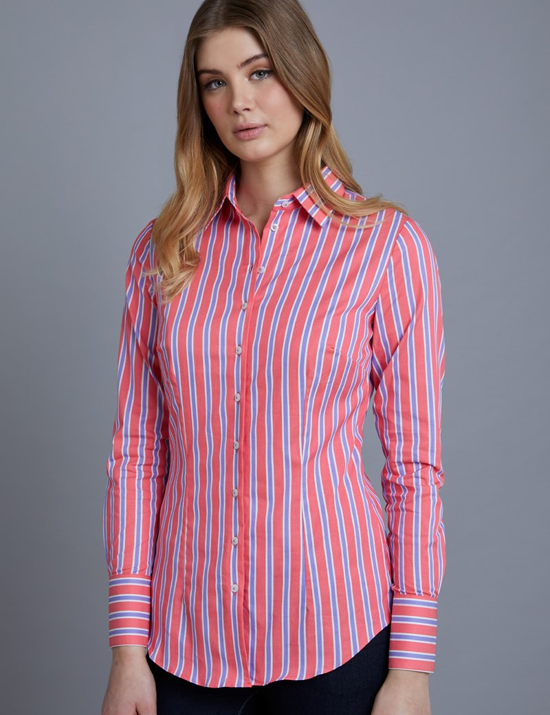 Women's Coral & Lilac Multi Stripe Fitted Shirt - Single Cuff