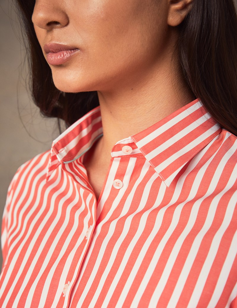 Women's Coral & White Bold Stripe Cotton Stretch Fitted Shirt - Single Cuff