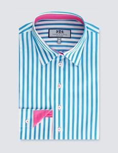 Bluse – Slim Fit – Baumwollstretch – Azur trifft Pink