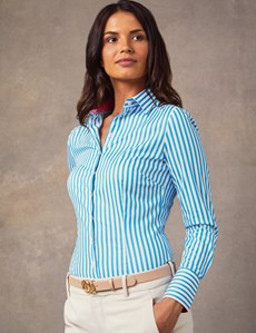 Women's Blue & White Bengal Stripe Cotton Stretch Fitted Shirt - Single Cuff