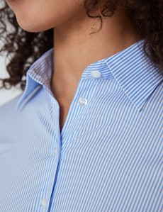 Women's Blue & White Stripes Luxury Cotton Nylon Fitted Shirt - Single Cuff