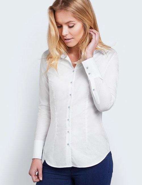 Women's White Textured Fitted Shirt With Blue Contrast Detail - Single Cuff