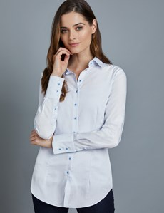 Women's Light Blue Semi Plain Fitted Shirt - Single Cuff