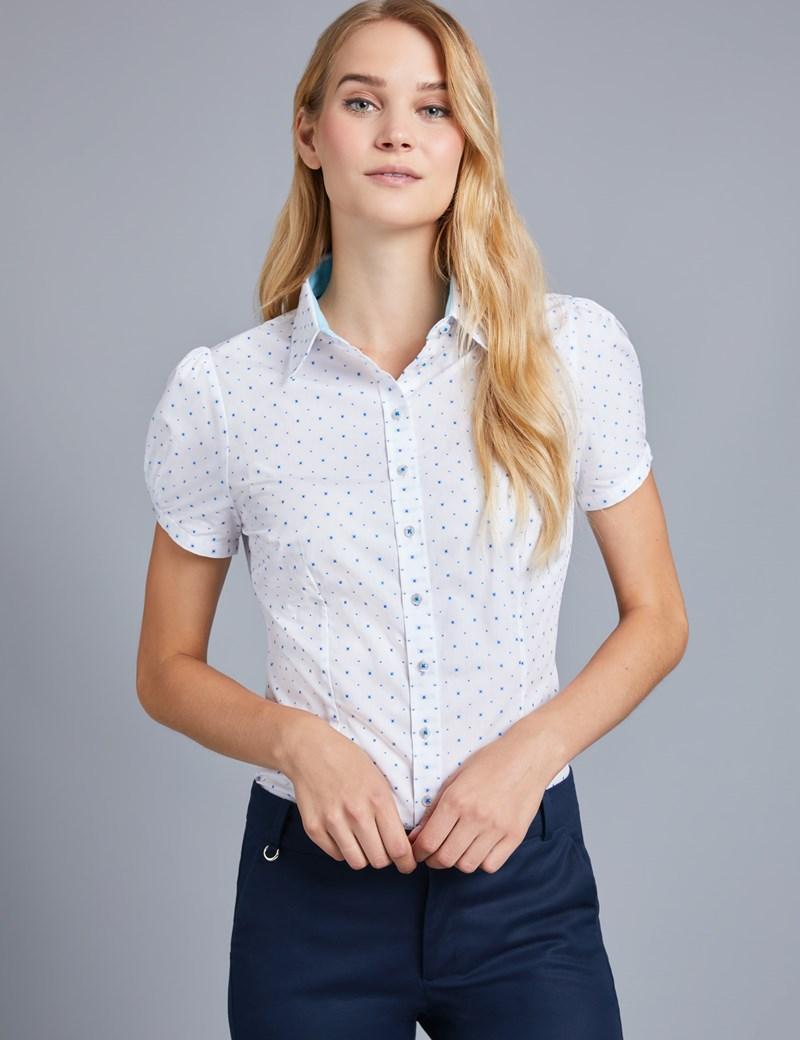 Women's White & Blue Dobby Fitted Short Sleeve Shirt