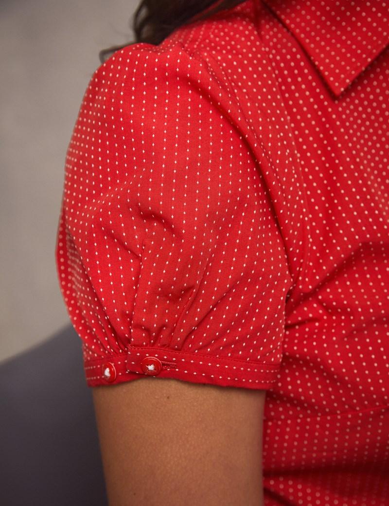 Women's Red & White Dobby Spot Fitted Short Sleeve Shirt