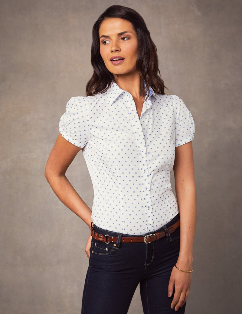 Women's White & Navy Stars Fitted Short Sleeve Shirt