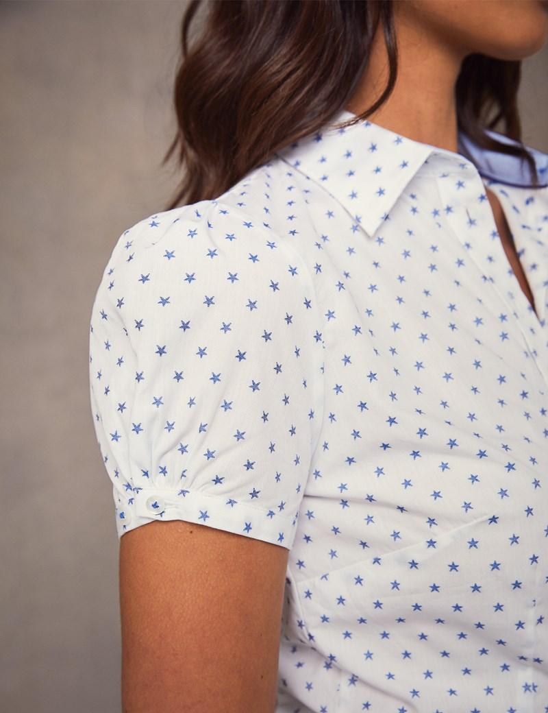 Women's White & Navy Stars Fitted Short Sleeve Shirt