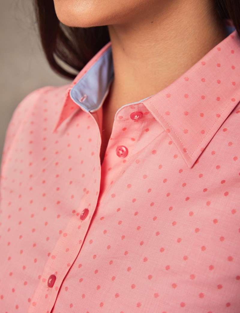 Women's Coral Dobby Spot Fitted Short Sleeve Shirt