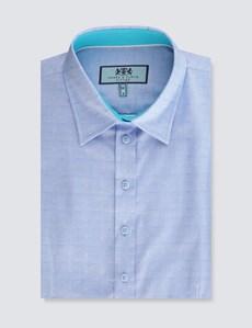 Women's Cornflower Dobby Fitted Short Sleeve Shirt