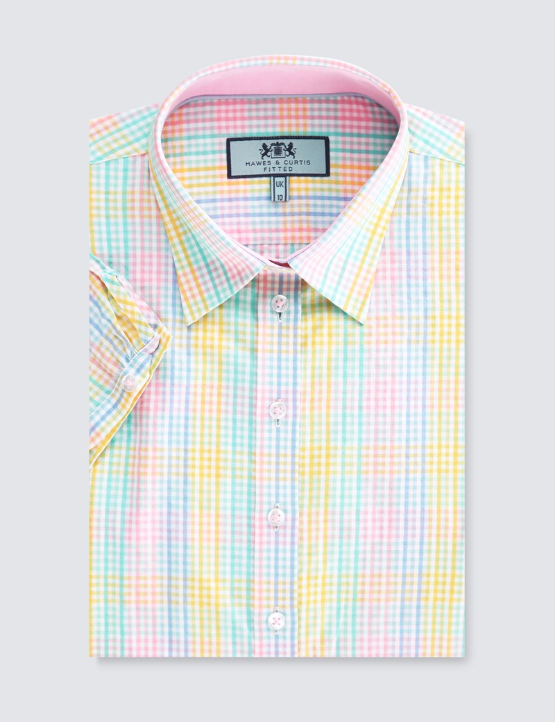 Women's Blue & Yellow Multi Check Fitted Short Sleeve Shirt
