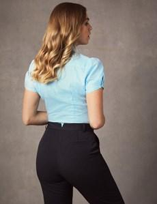 Women's Blue & White Gingham Check Fitted Short Sleeve Shirt