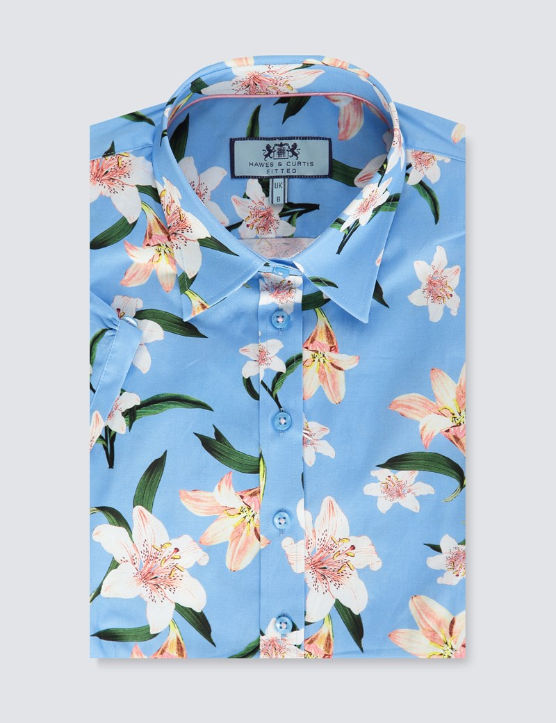 Women's Blue & White Floral Fitted Short Sleeve Shirt