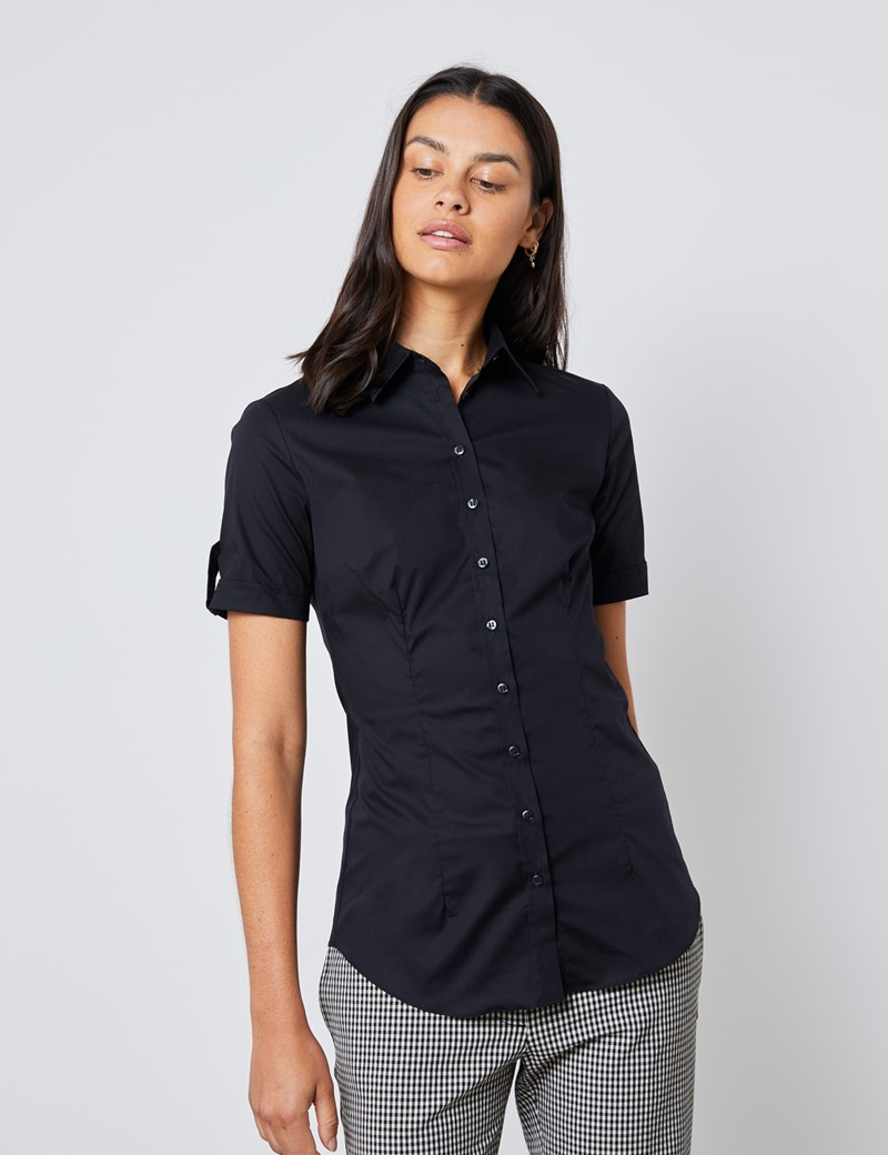 Women's Black Fitted Short Sleeve Shirt