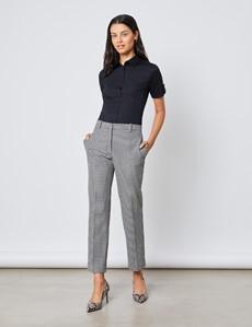 Kurzarm Bluse – Slim Fit – Baumwollstretch – Schwarz