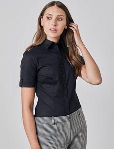 Women's Black Fitted Short Sleeve Shirt