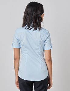Women's Ice Blue Fitted Short Sleeve Shirt