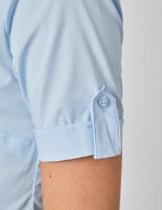 Kurzarm Bluse – Slim Fit – Baumwollstretch – eisblau