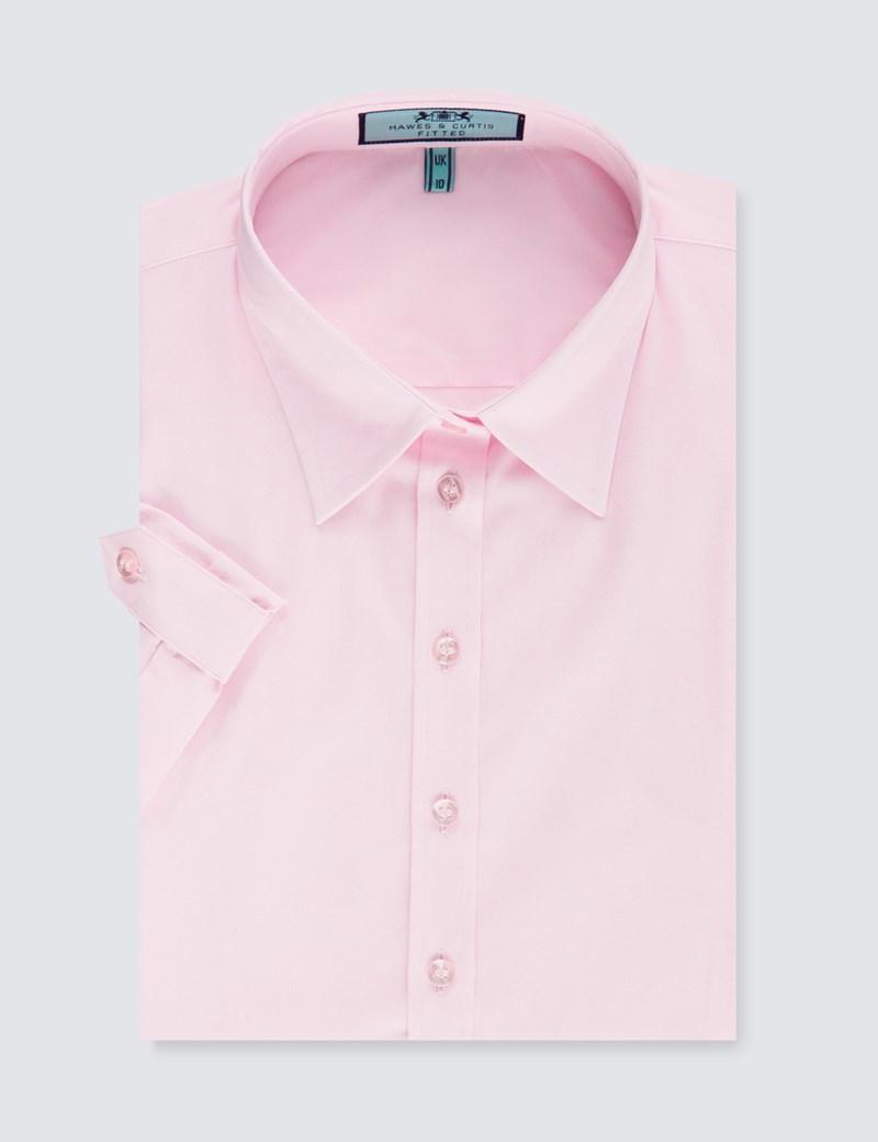 Women's Pink Fitted Short Sleeve Shirt