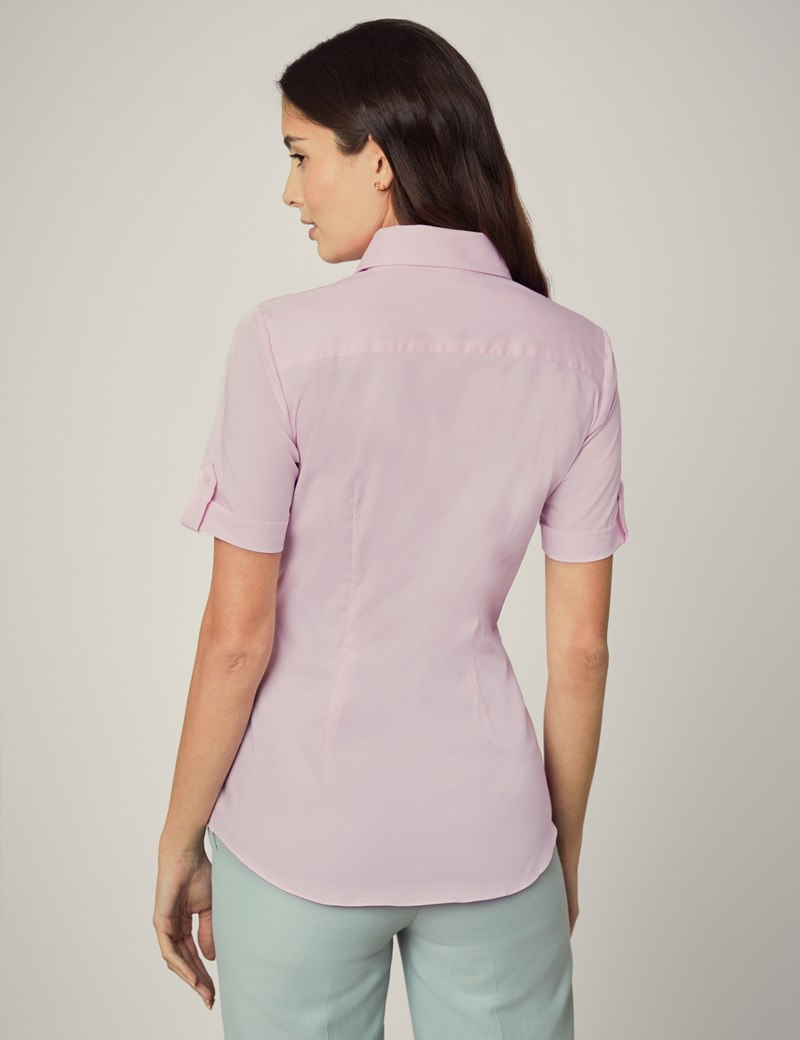 Women's Pink Fitted Short Sleeve Shirt