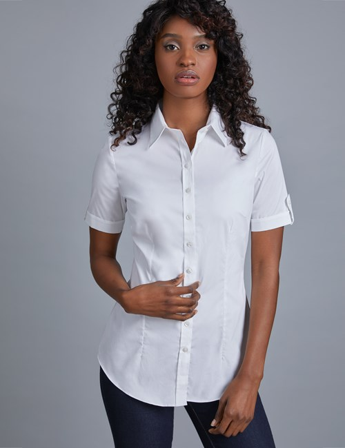 Women's White Fitted Short Sleeve Cotton Shirt