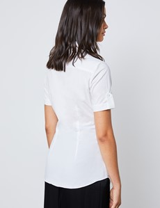 Women's White Fitted Short Sleeve Shirt