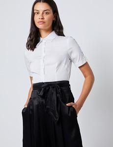 Bluse – Slim Fit – Kurzarm – Baumwollstretch – Weiß