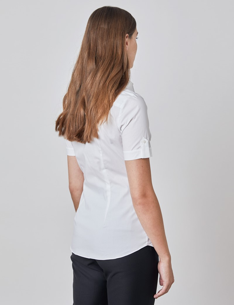Kurzarm Bluse – Slim Fit – Baumwollstretch – weiß