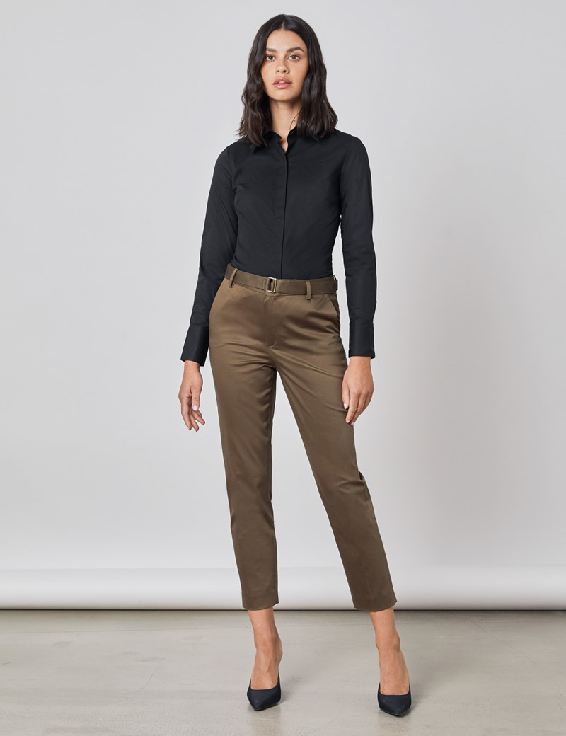 Women's Black Fitted Cotton Stretch Shirt With Concealed Placket  - Single Cuff