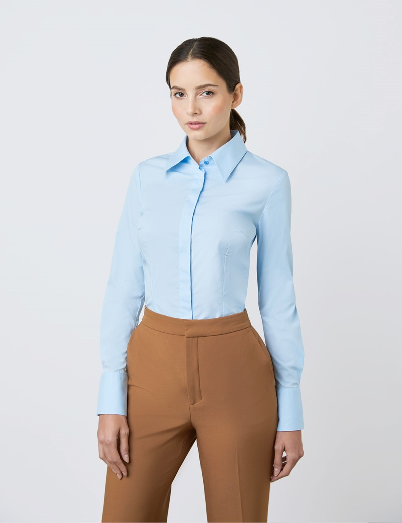 Women's Ice Blue Fitted Cotton Stretch Shirt With Concealed Placket  - Single Cuff