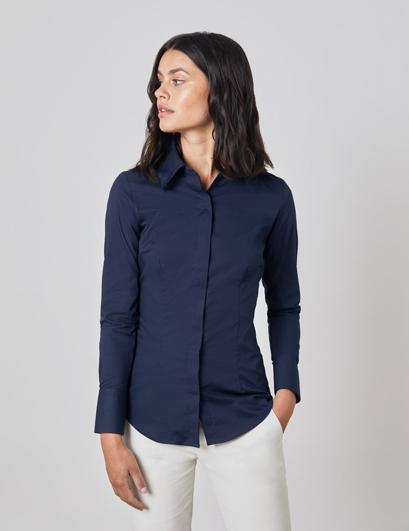 Women's Navy Fitted Cotton Stretch Shirt With Concealed Placket  - Single Cuff