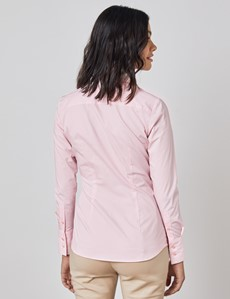 Women's Pink Fitted Cotton Stretch Shirt With Concealed Placket  - Single Cuff