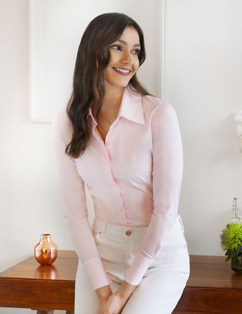 Bluse – Slim Fit – Baumwollstretch – verdeckte Knopfleiste – rosa