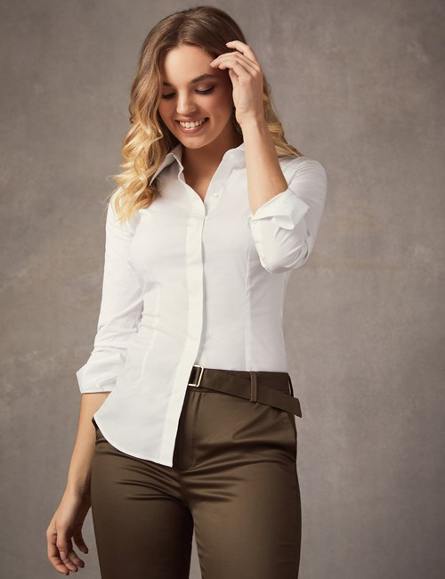 d8f23a632 Women's White Fitted Cotton Stretch Shirt With Concealed Placket - Single  ...