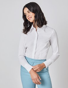 Women's White Fitted Cotton Stretch Shirt With Concealed Placket  - Single Cuff