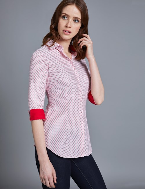 Women's White & Red Dobby Fitted Shirt - 3 Quarter Sleeve