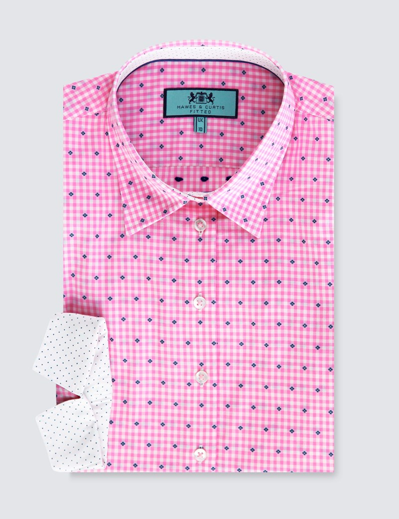 Women's Pink & White Dobby Fitted Shirt - 3 Quarter Sleeve