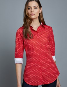 Bluse – Slim Fit – 3/4 Arm – Baumwolle – Scandinavian Dots