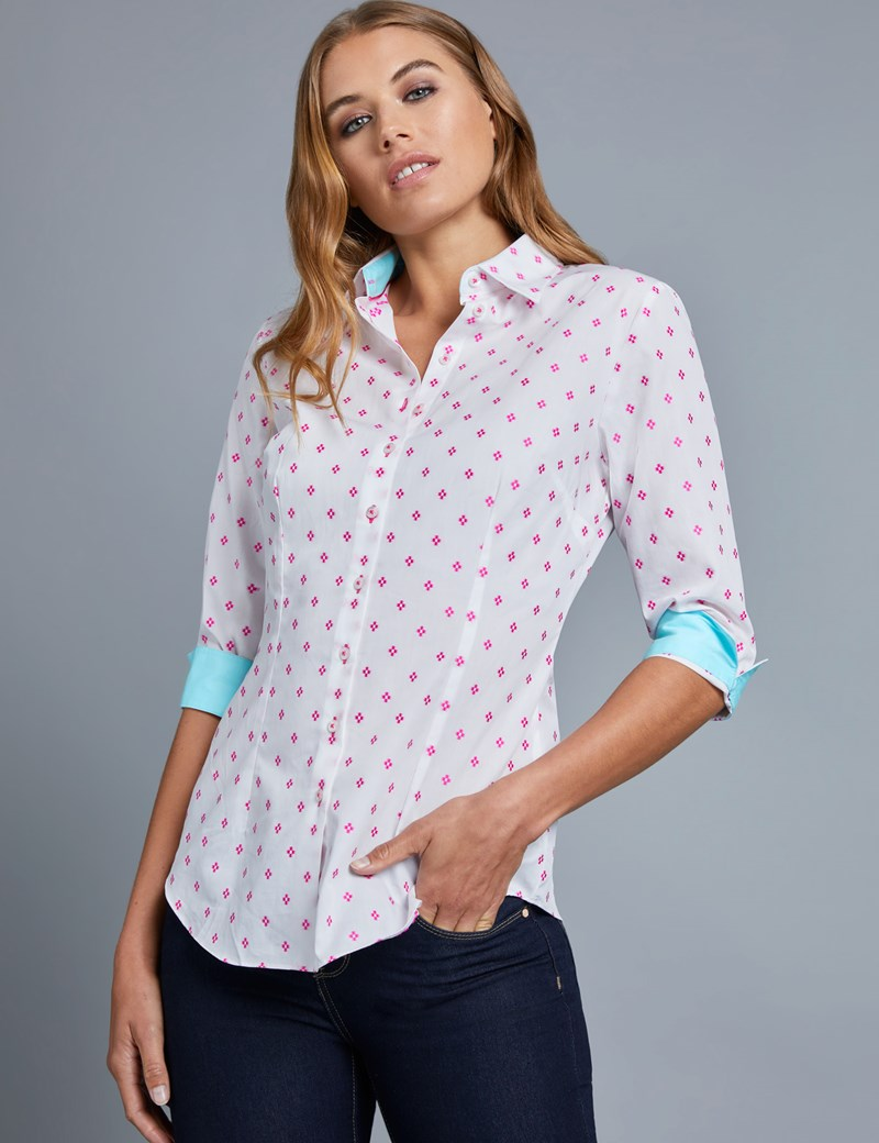 Women's White & Pink Dobby Fitted Shirt - 3 Quarter Sleeve