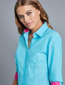 Women's Blue Dobby Fitted Shirt - 3 Quarter Sleeve