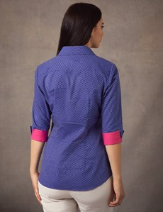 Women's Royal & White Dobby Fitted Shirt -  3 Quarter Sleeve - Low Collar