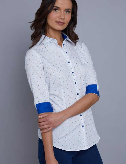Women's White & Blue Dobby Stars Fitted 3 Quarter Sleeve Shirt